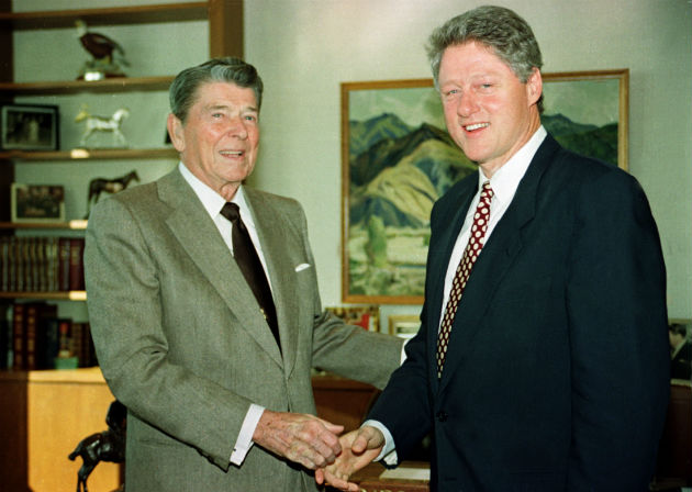 President-elect Clinton visits former President Reagan in Los Angeles in 1992 (Gary Hershorn/Reuters)