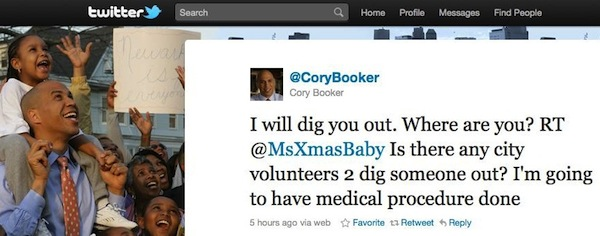 Cory Booker shovels snow