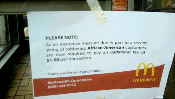 McDonald's Now Charging Afro-Americans $1.50 Per Transaction After Violent Blacks Study?