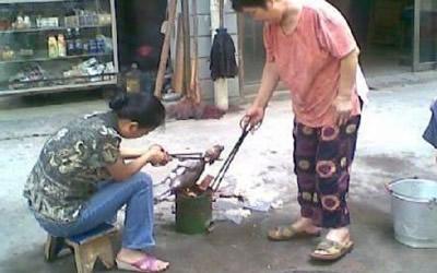 Un chiot roti vivant sur un marché de Chine ! 400_roasteddog2