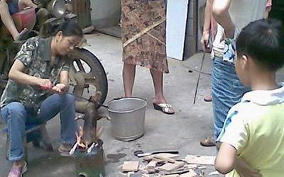 Un chiot roti vivant sur un marché de Chine ! 400_roasteddog3