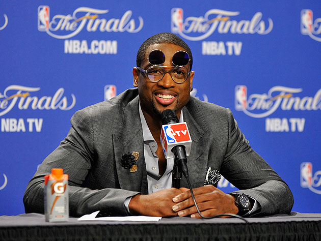 Dwyane Wade wears flip-up sunglasses to post-Game 4 press conference because, at this point ...