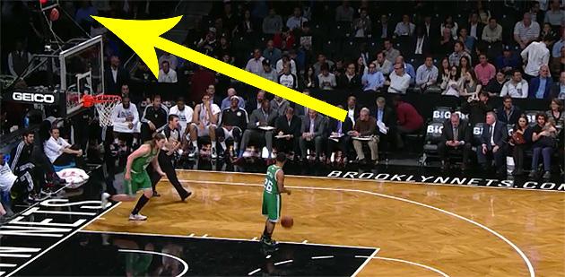 Nets mascot The BrooklyKnight tries trampoline dunk, fails, get…