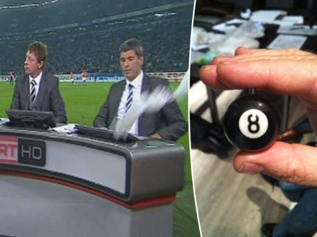 Schalke fans threw a mini 8 ball at ref turned TV pundit