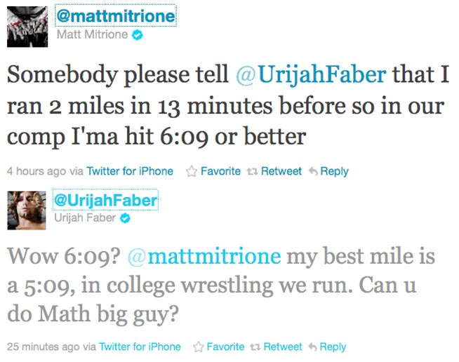 This must happen: Matt Mitrione and Urijah Faber want to race
