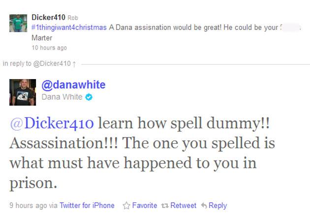 Dana White responds to Twitter troll with prison rape joke