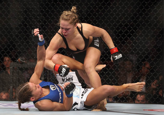 Ronda Rousey was more worried about her sports bra staying on than