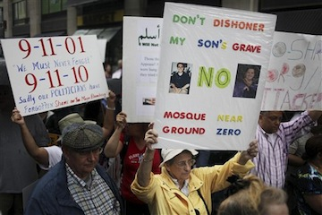 protesters near ground zero