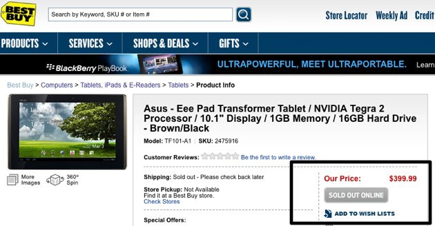 Asus Eee Pad Transformer Sells Out Online On Day One