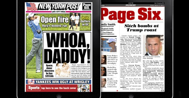 New York Post goes paywall, but only for iPad users      (Yahoo! News)
