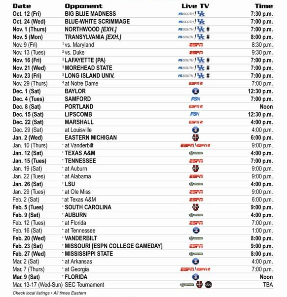 Kentucky Basketball Schedule