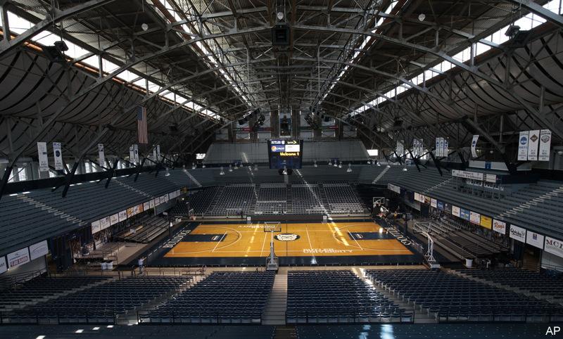 A corporate logo will soon grace the floor at Hinkle ... Joe Freeman Coliseum