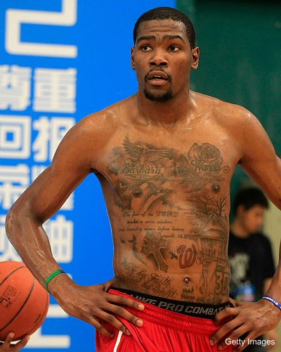 Kevin Durant Has A Lot Of Tattoos Under His Jersey Ball